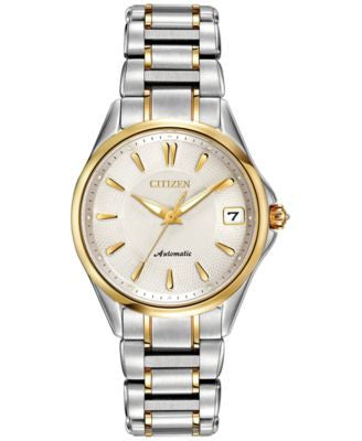 Citizen Women's Automatic Grand Classic Eco-Drive Diamond Accent Two-Tone Stainless Steel Bracelet W