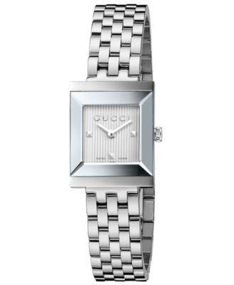 Gucci Women's Swiss G-Frame Stainless Steel Bracelet Watch 24mm YA128402