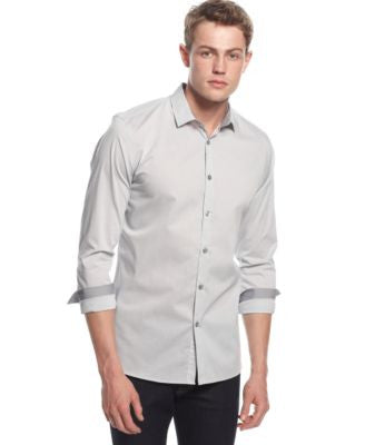 Alfani Slim-Fit Long-Sleeve Stretch Check Shirt