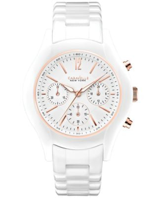 Caravelle New York by Bulova Women's Chronograph White Ceramic Bracelet Watch 36mm 45L144