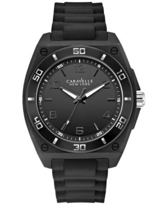 Caravelle New York by Bulova Men's Black Silicone Strap Watch 44mm 43A127