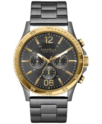 Caravelle New York by Bulova Men's Chronograph Gunmetal-Tone Stainless Steel Bracelet Watch 44mm 45A
