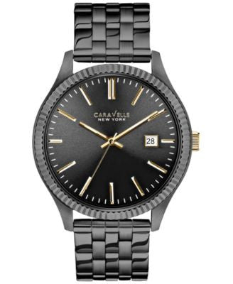 Caravelle New York by Bulova Men's Gray Ion-Plated Stainless Steel Bracelet Watch 41mm 45B120