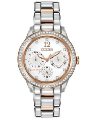 Citizen Women's Chronograph Eco-Drive Silhouette Crystal Two-Tone Stainless Steel Bracelet Watch 37m