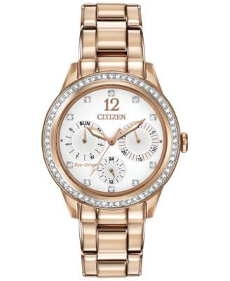 Citizen Women's Chronograph Eco-Drive Silhouette Crystal Rose Gold-Tone Stainless Steel Bracelet Wat
