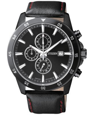 Citizen Men's Chronograph Black Leather Strap Watch 42mm AN3575-03E