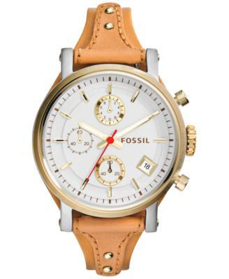 Fossil Women's Original Boyfriend Tan Leather Strap Watch 38mm ES3615
