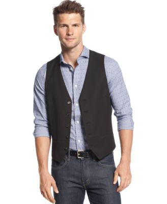 Alfani Slim Fit Black Stripe Vest