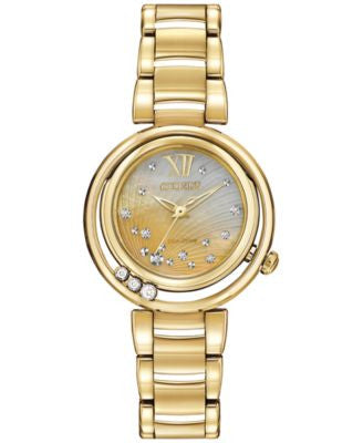 Citizen Women's Eco-Drive L Series Sunrise Diamond Accent Gold-Tone Stainless Steel Bracelet Watch 2