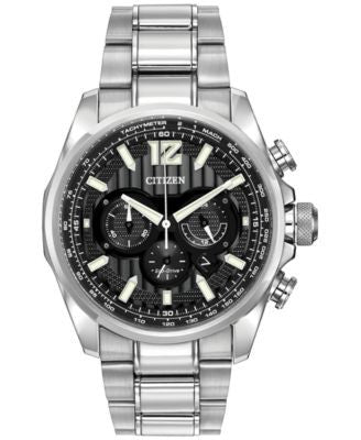 Citizen Men's Chronograph Eco-Drive Shadowhawk Stainless Steel Bracelet Watch 43mm CA4170-51E