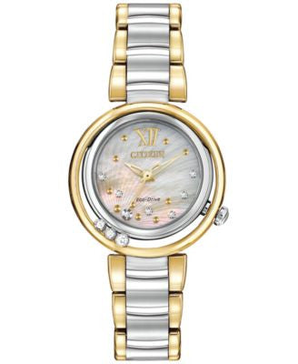 Citizen Women's Eco-Drive L Series Sunrise Diamond Accent Two-Tone Stainless Steel Bracelet Watch 29