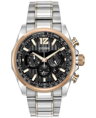 Citizen Men's Chronograph Eco-Drive Shadowhawk Two-Tone Stainless Steel Bracelet Watch 43mm CA4176-5