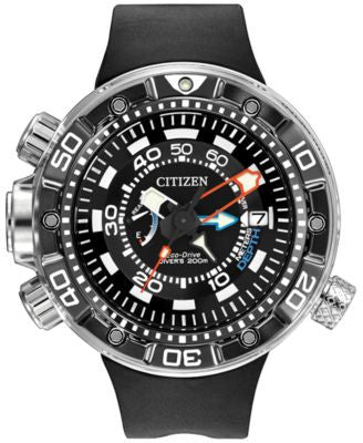 Citizen Men's Eco-Drive Promaster Aqualand Depth Meter Black Polyurethane Strap Watch 53mm BN2029-01