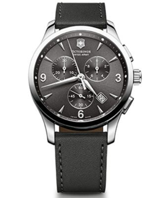 Victorinox Swiss Army Men's Chronograph Alliance Black Leather Strap Watch 42mm 241479