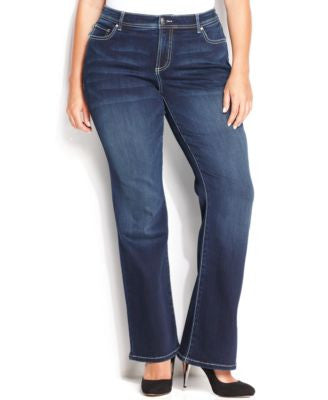 INC International Concepts Plus Size Tummy-Control Spirit Wash Bootcut Jeans, Only at Vogily