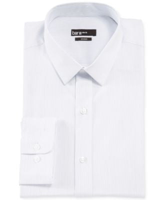 Bar III Slim-Fit White and Grey Stripe Dress Shirt
