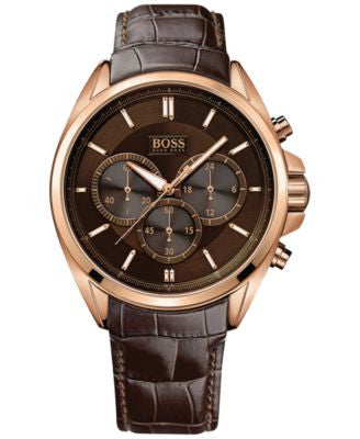 BOSS Hugo Boss Men's Chronograph Driver Brown Leather Strap Watch 44mm 1513036