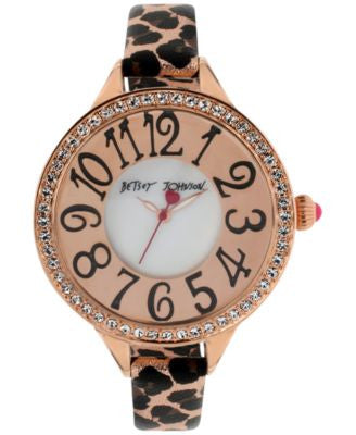 Betsey Johnson Women's Leopard Print Leather Strap Watch 47mm BJ00387-03