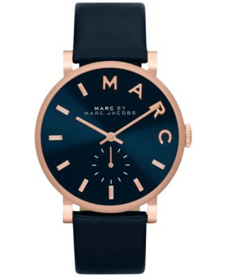 Marc by Marc Jacobs Women's Baker Navy Leather Strap Watch 36mm MBM1329