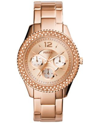 Fossil Women's Stella Rose Gold-Tone Stainless Steel Bracelet Watch 38mm ES3590