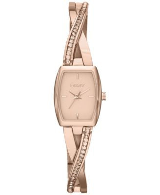 DKNY Women's Crosswalk Crystal Accent Rose Gold-Tone Stainless Steel Half-Bangle Bracelet Watch 28x1