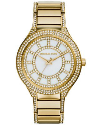 Michael Kors Women's Kerry Crystal Accent Gold-Tone Stainless Steel Bracelet Watch 38mm MK3312