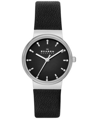 Skagen Women's Ancher Black Leather Strap Watch 26mm SKW2193