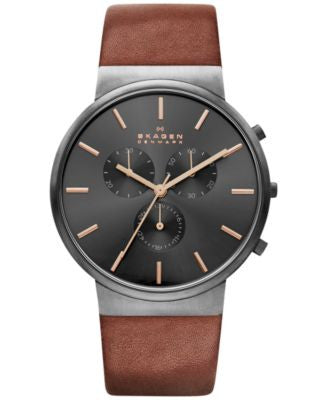 Skagen Men's Chronograph Ancher Brown Leather Strap Watch 40mm SKW6106