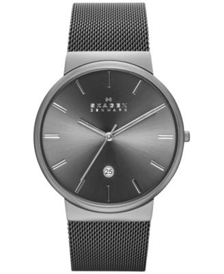 Skagen Men's Ancher Gray Ion-Plated Stainless Steel Mesh Bracelet Watch 40mm SKW6108