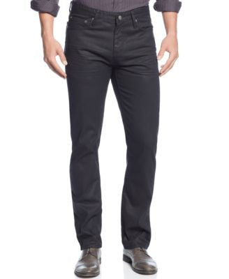Alfani Deker Straight-Fit Coated Black-Wash Jeans