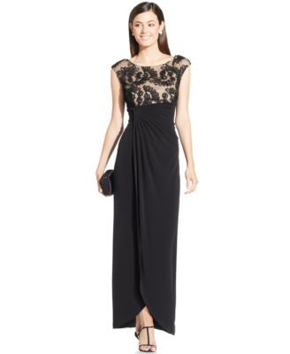 Connected Cap-Sleeve Embroidered Faux-Wrap Gown