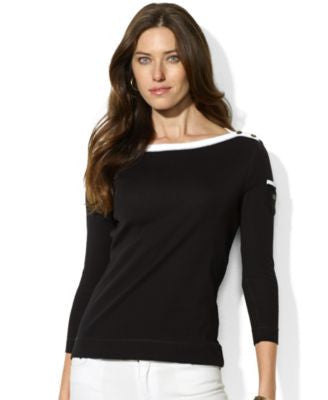 Lauren Ralph Lauren Petite Three-Quarter-Sleeve Boat-Neck Top