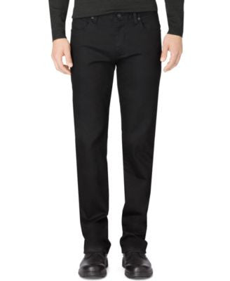 Calvin Klein Men's Stretch Black Straight-Fit Jeans