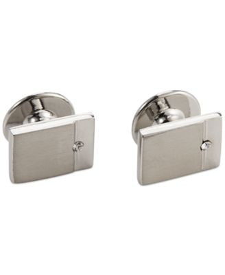 Geoffrey Beene Crystal Detail Rectangle Dress Cufflinks Set