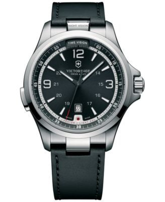 Victorinox Swiss Army Men's Night Vision Black Leather Strap Watch 42mm 241664