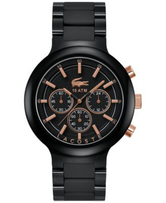 Lacoste Men's Chronograph Borneo Black Resin Composite Bracelet Watch 44mm 2010769