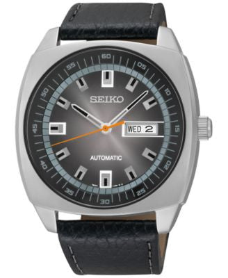 Seiko Men's Automatic Black Leather Strap Watch 44mm SNKN01
