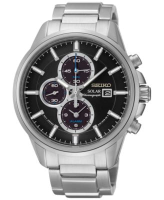 Seiko Men's Solar Chronograph Stainless Steel Bracelet Watch 42mm SSC267