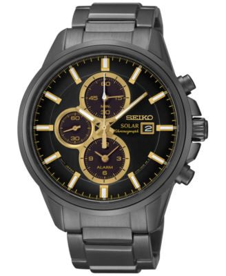 Seiko Men's Solar Chronograph Black-Tone Stainless Steel Bracelet Watch 42mm SSC269