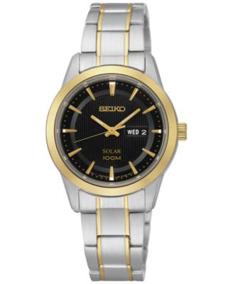 Seiko Women's Solar Two-Tone Stainless Steel Bracelet Watch 29mm SUT166