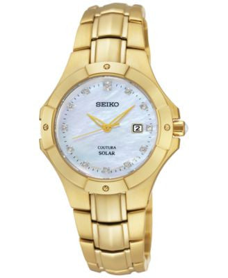 Seiko Women's Solar Diamond Accent Gold-Tone Stainless Steel Bracelet Watch 29mm SUT168