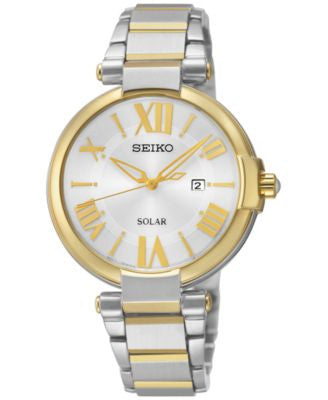Seiko Women's Solar Two-Tone Stainless Steel Bracelet Watch 33mm SUT174