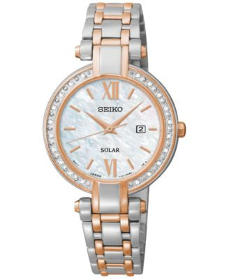 Seiko Women's Solar Diamond Accent Two-Tone Stainless Steel Bracelet Watch 30mm SUT184