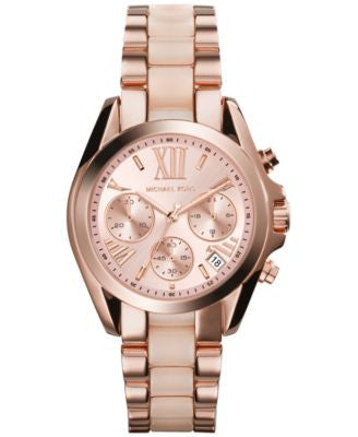 Michael Kors Women's Chronograph Mini Bradshaw Blush and Rose Gold-Tone Stainless Steel Bracelet Wat