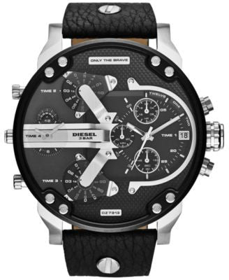 Diesel Men's Mr. Daddy 2.0 Black Leather Strap Watch 66x57mm DZ7313