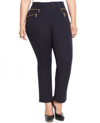 MICHAEL Michael Kors Plus Size Straight-Leg Zip-Pocket Pants