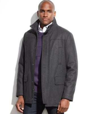 Kenneth Cole Wool-Blend Stand-Collar Walking Coat