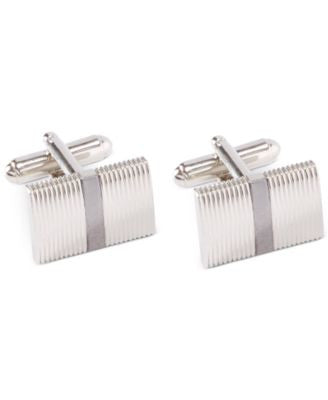 Geoffrey Beene Ribbed Polished Rhodium Cufflinks