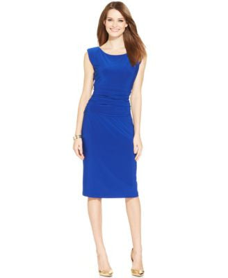 Nine West Cap-Sleeve Ruched Sheath