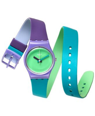 Swatch Women's Swiss Fun in Blue Multicolor Silicone Wrap Strap Watch 25mm LV117